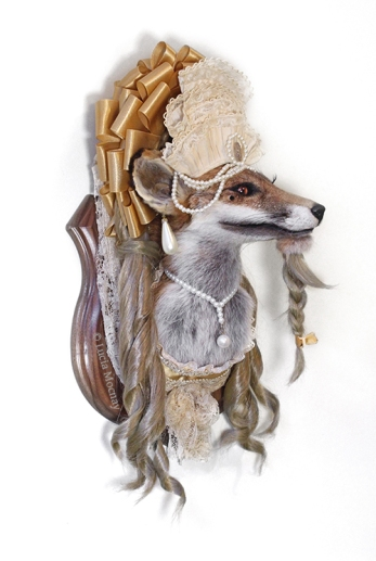 Anthropomorphic Taxidermy Fox Bearded Princess by Lucia Mocnay
