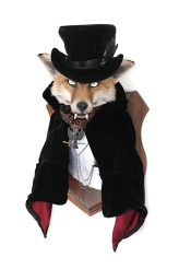 Anthropomorphic Taxidermy Fox Count with Glowing Eyes by Lucia Mocnay