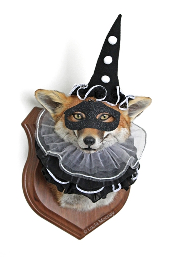 Anthropomorphic Taxidermy Fox Mime by Lucia Mocnay
