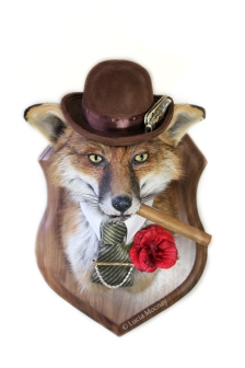 Anthropomorphic Taxidermy Art Fox Gangster by Lucia Mocnay
