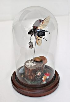 (back) Rhino beetle, metal birdcage, wood, miniatures, textiles, dwarf, faux mushroom, paper flower