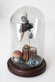 (front) Rhino beetle, metal birdcage, wood, miniatures, textiles, dwarf, faux mushroom, paper flower