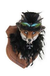 Anthropomorphic Taxidermy Art Vampire lady Fox with Glowing eyes by Lucia Mocnay