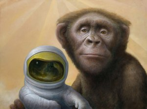 """Bonobo Astronomica"" – Oil painting by Chris Leib"